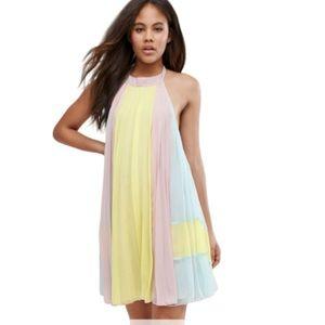 ASOS | Color Block Pleated Halter Neck Dress